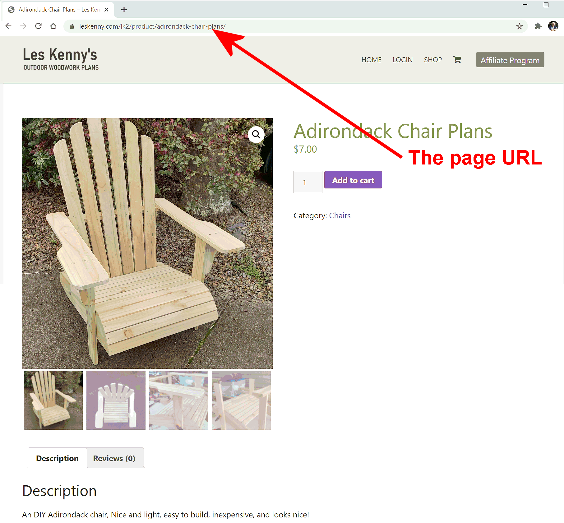 Adirondack chair plan sales page