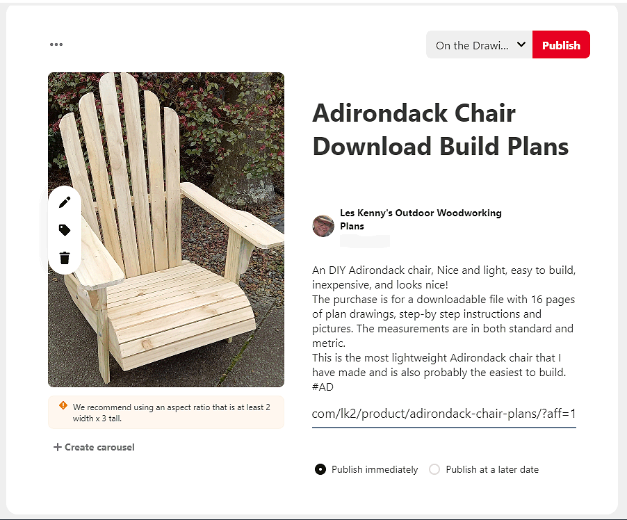 pinterest affiliate process fill in fields